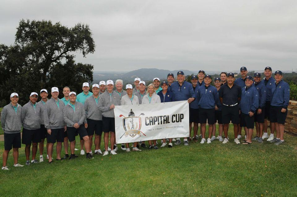 Golfers from the 2019 Capital Cup pose for a photo at the Sacramento Country Club. Shannon Deary- Bell is front and center.